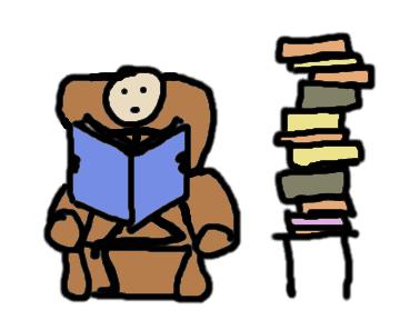 En train de lire des livres - comic