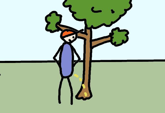 pisser contre un arbre - comic