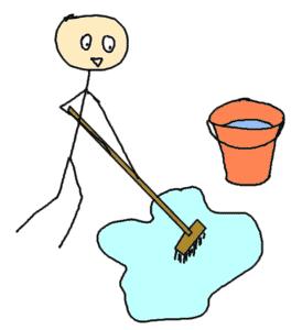 nettoyage avec un sceau et un balai - comic