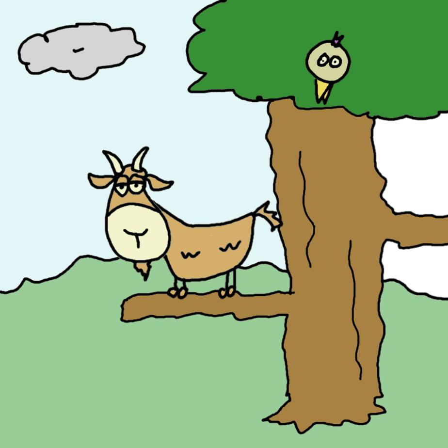 chèvre dans un arbre - comic