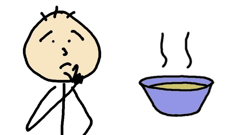 personnage dubitatif devant une soupe jaune - dessin comic
