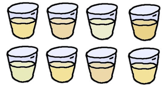 verres remplis d'urine - dessin
