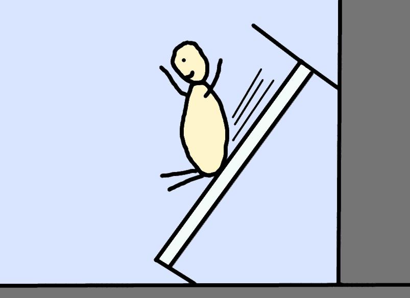 bonhomme qui fait du toboggan sur son lit trop incliné - comic